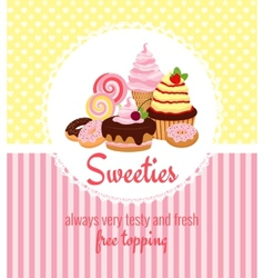 Greeting card template with sweets and candy vector image