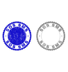 grunge sos sms scratched stamps vector image