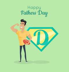 Happy fathers day poster daddy great sportsman vector