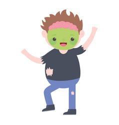 happy halloween boy zombie costume cartoon vector image