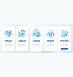 Hearing loss avoidance onboarding mobile app page vector