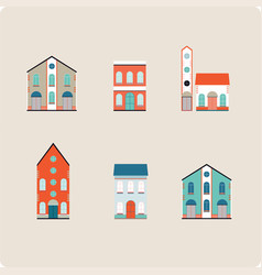 house set colorful home icon collection vector image