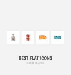 Icon flat food set of canned fish sugar bag love vector