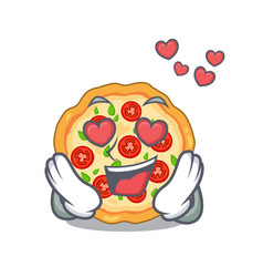 in love margherita pizza isolated with the vector image