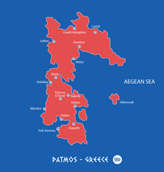 Island of patmos in greece red map vector