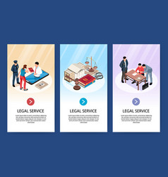 Isometric lawyer vertical banners vector