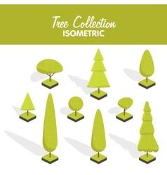 Isometric tree set vector image