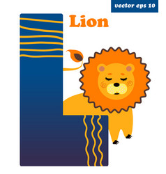 l letter with lion vector image