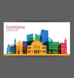 ljubljana colorful architecture vector image