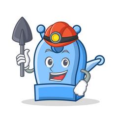Miner pencil sharpener character cartoon vector