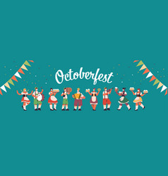 mix race people celebrating oktoberfest party vector image