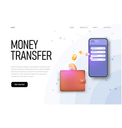 Money transfer from wallet to phone landing page vector