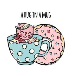 mug and doughnut cat cartoon clip art vector image