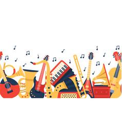 musical instruments banner music guitar violin vector image