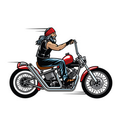 Old man biker riding chopper motorcycle vector