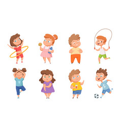 overweight vs sporty children confused fat kids vector image