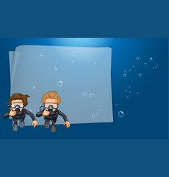 paper template with divers in the ocean vector image
