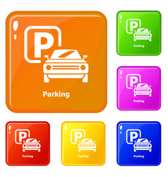 parking icons set color vector image