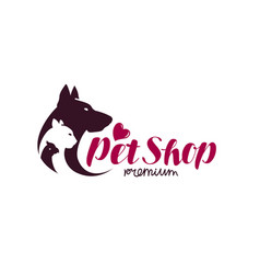 Pet shop logo animals cat dog parrot icon vector