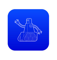 Robot with caterpillar track icon blue vector