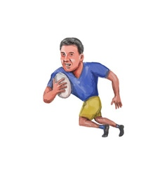 Rugby Player Running Ball Caricature vector image