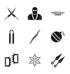 samurai icons set simple style vector image