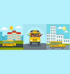 School bus kids banner concept set flat style vector