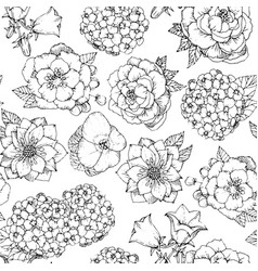 seamless floral pattern with various flowers hand vector image
