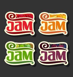 Set colorful fruits jam labels vector