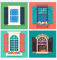 set detailed various colorful windows vector image