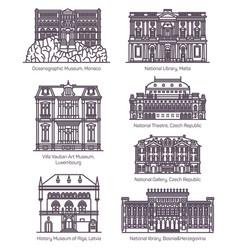 set line famous european culture buildings vector image