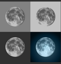 set of full moon icons - prints for t-shirts vector image