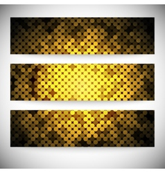 Set of horizontal banners Abstract golden dots vector image