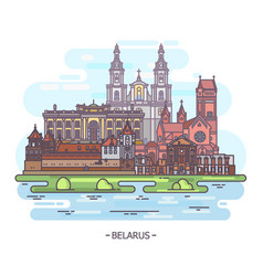 Sight of famous belarus landmarks turism theme vector