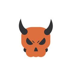 Skull with horns trick or treat happy halloween vector