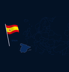 spain on europe map high quality map europe vector image