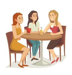 Three women drinking coffee and tea at the vector