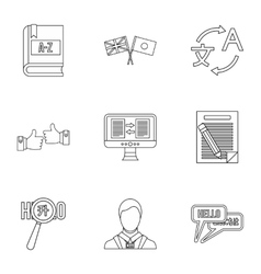 Translation icons set outline style vector