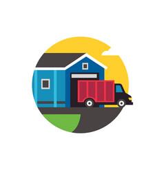 truck leaving warehouse vector image