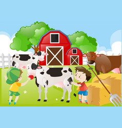 Two boys feeding cows in the farm vector