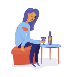 unhappy depressed woman girl drinking wine alone vector image