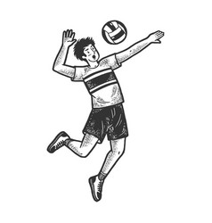 Volleyball player with ball sketch vector
