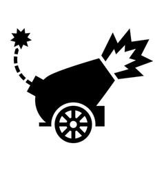 War cannon firing cannonball icon vector