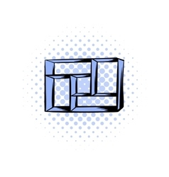 Wooden shelf comics icon vector