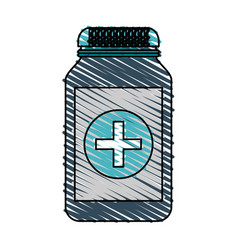 color crayon stripe cartoon remedy bottle with lid vector image vector image