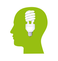 color human face silhouette with bulb light in vector image