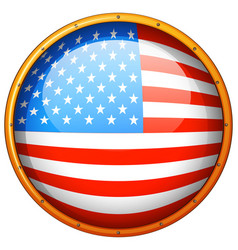flag of america in round badge vector image