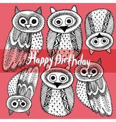 Happy birthday Decorative Hand dravn Cute Owl vector image