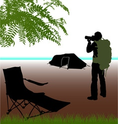photographer with camping vector image vector image