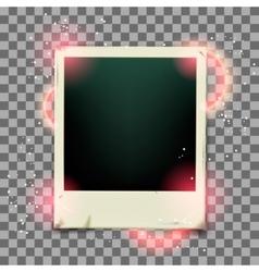 Retro photo frame on transparent background vector image